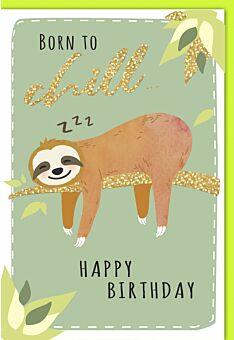 Geburtstagskarte lustig Faultier auf Ast