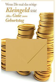 Geldgeschenkgrußkarte Gestapelte Geldmünzen, mit Geldkuvert