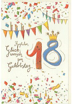 Geburtstagskarte 18 Jahre Wimpelketten, mit Goldfolie und Blindprägung, Naturkarton