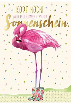 Postkarte Spruch Kopf hoch! Nach Regen kommt wieder Sonnenschein