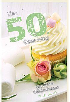 Geburtstagskarte 50 Cupcake, Rose, Marshmallows