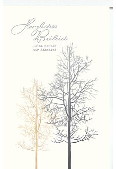 Trauerkarte Kleiner und großer Baum, Naturkarton, mit Silberfolie und Blindprägung