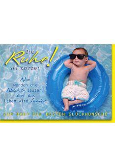 Glückwunschkarte zur Geburt Baby im blauen Schwimmreif