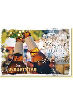 Geburtstagskarte lustig Spruch Bierflaschen beim Anstoßen