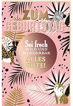 Geburtstagskarte für Frauen Spruchkarte, Blätter, mit schimmerndem Farbeffekt