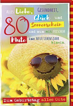 Geburtstagskarte 80 Alls Liebe, Gesundheit, Glück und Sonnenschein