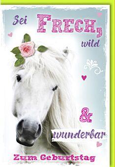 Glückwunschkarte Geburtstag weißes Pferd