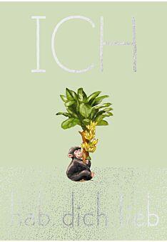 Postkarte Spruch Liebe Humor Schimpanse - Ich hab Dich lieb