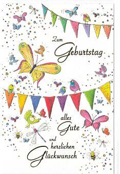 Glückwunschkarte Geburtstag hochwertig Vögel und Schmetterlinge