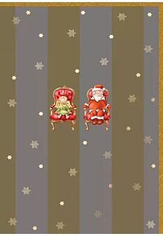 Weihnachtspostkarte Goldfolie 2 Throne m.W-mann/Christkind