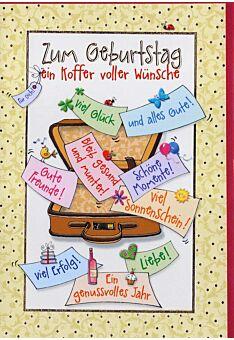 Geburtstagskarte: Koffer mit Glückwünschen