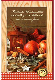 Weihnachtskarte hochformat Foto Äpfel Nüsse