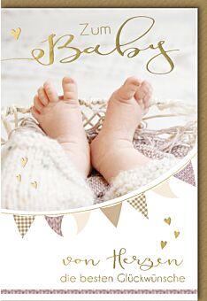 Glückwunschkarte zur Geburt Babyfüße in Strickhose