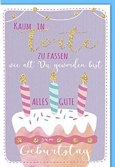 Geburtstagskarte lustig Torte mit Kerzen