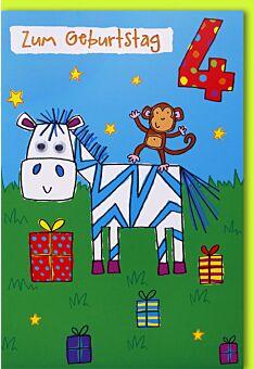 Geburtstagskarte für Kinder 4. Geburtstag Zebra und Äffchen