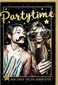 Geburtstagskarte für Frauen Feiernde Mädels im Glitterregen