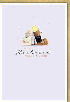 Hochzeitskarte premium zwei Teddys mit Schleier und Zylinder