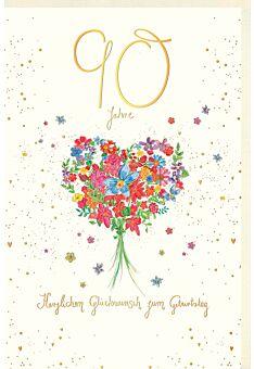 Geburtstagskarte 90 Jahre Blumenstrauß in Herzform, Naturkarton, mit Goldfolie und Blindprägung