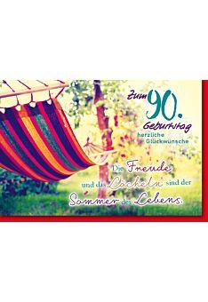 Geburtstagskarte 90 Geburtstag Hängematte