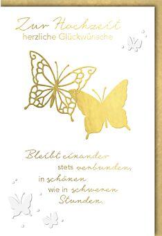 Hochzeitskarte Hochzeit Goldene Schmetterlinge