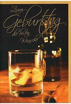 Glückwunschkarte Geburtstag Mann Whisky und Zigarre