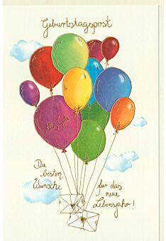 Karte Geburtstag Briefe mit Luftballons steigen in den Himmel, Naturkarton, mit Goldfolie und Blindprägung