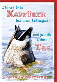 Glückwunschkarte Geburtstag Ente kopfüber