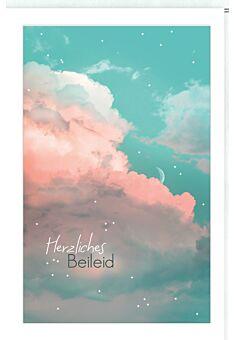 Trauerkarte Wolken, aufgeklebtes Stanzteil