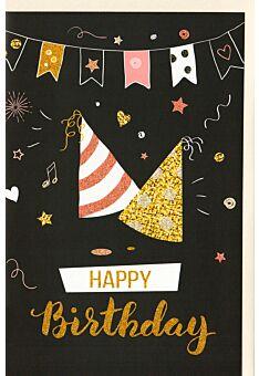 Geburtstagskarte Girlande, Partyhüte, mit Glimmer