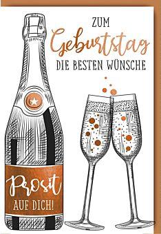 Geburtstagskarte Spruch premium Proseccoflasche mit Gläsern