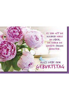 Geburtstagskarte mit Spruch Rosafarbene Teerosen