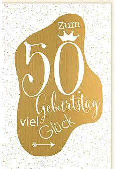 Geburtstagskarte 50 Herz gold Happy Birthday to you