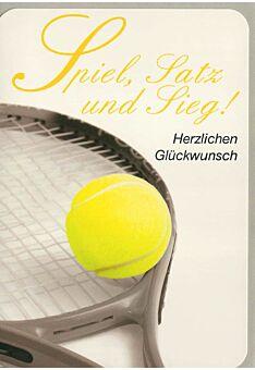 Geburtstagskarte für Tennisspieler Spiel, Satz und Sieg
