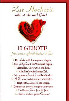 Glückwunschkarte Hochzeit Zehn Gebote