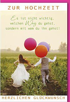 Glückwunschkarte Hochzeit Paar mit bunten Luftballons