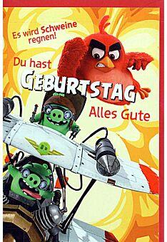 """Geburtstagskarten für Kinder Angry Birds """"Flugzeug"""""""