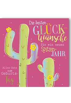 Geburtstagskarte quadratisch Kleiner und großer Kaktus