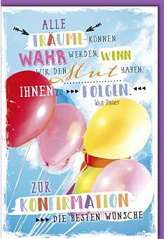 Schöne Konfirmationskarte Spruch Träume Luftballons