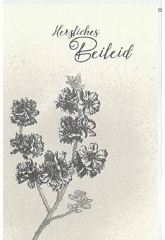 Trauerkarte Beileid Blüten, Naturkarton, mit Silberfolie und Blindprägung