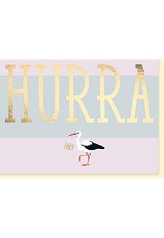 Glückwunschkarte Geburt Baby Storch: Hurra, Baby.