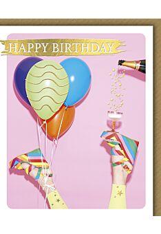 Geburtstagskarte für Frauen Snapshot Schuhe Sekt Luftballons Happy Birthday