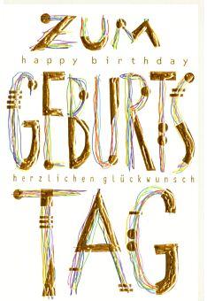 Karte Geburtstag gold Kunst Happy Birthday