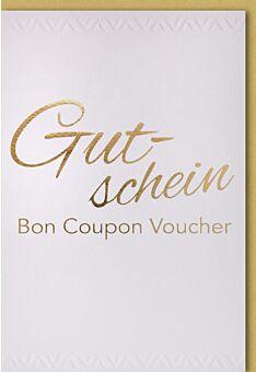 Gutscheinkarten Bon Coupon Voucher in Gold