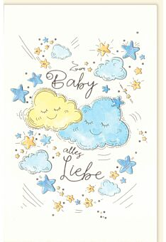 Glückwunschkarte zur Geburt Wolken Zum Baby alles Liebe