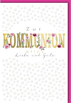 Glückwunschkarte zur Kommunion Goldfolie Rosen