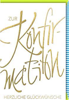 Konfirmationskarte Schrift gold Kuvert bunt hochwertig