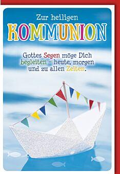 Glückwunschkarte Kommunion - Origammi-Glitzer-Boot