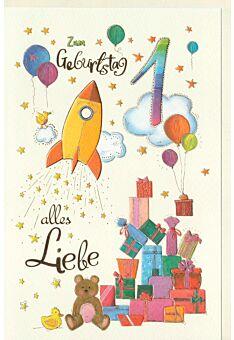 Kindergeburtstag Karte 1 Jahr Rakete und Geschenke, Naturkarton, mit Goldfolie und Blindprägung