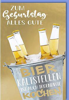 Geburtstagskarte - Bierflaschen im Kühler