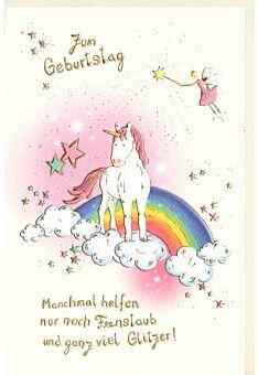 Karte Geburtstag Einhorn Feenstaub
